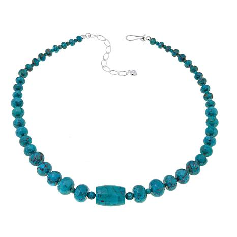 "Jay King Iron Mountain Turquoise Barrel 18"" Necklace"