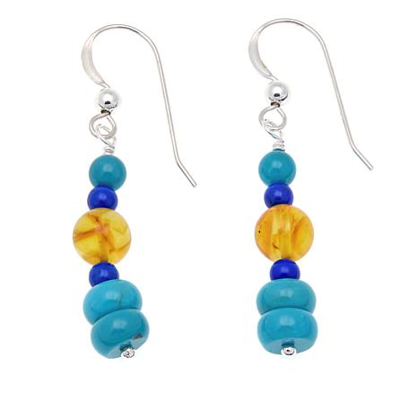 Jay King Jay Turquoise, Amber and Lapis Sterling Silver Drop Earrings