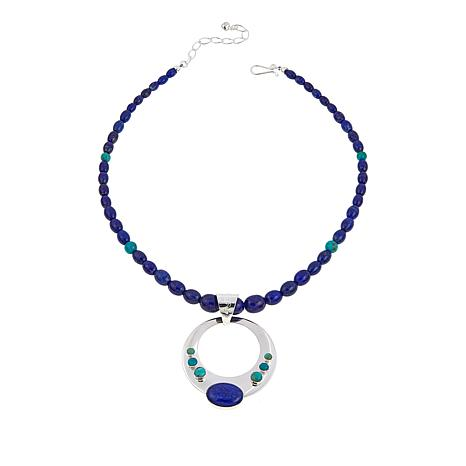 Jay King Lapis and Andean Blue Turquoise Circle Pendant with Necklace