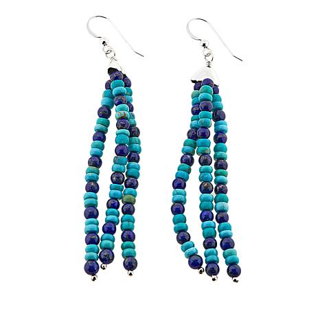 Jay King Lapis and Andean Blue Turquoise Tassel Drop Earrings