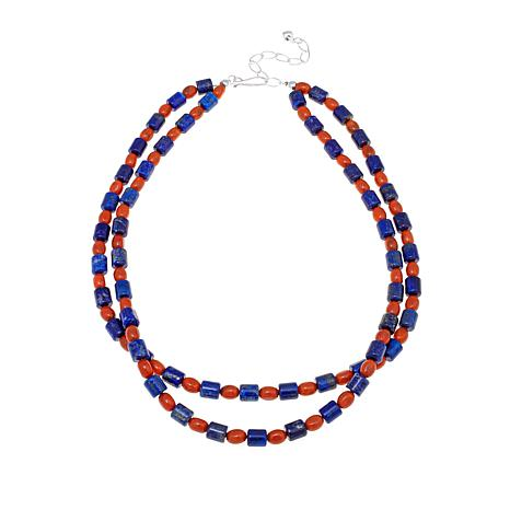 """Jay King Lapis and Orange Coral Bead 18"""" Necklace"""