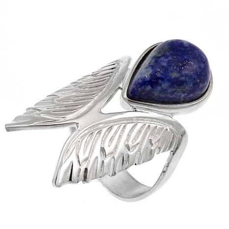 "Jay King Lapis ""Wings"" Sterling Silver Ring"