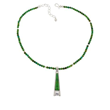 Jay King Lemon Lime Turquoise and CZ Pendant with Beaded Necklace