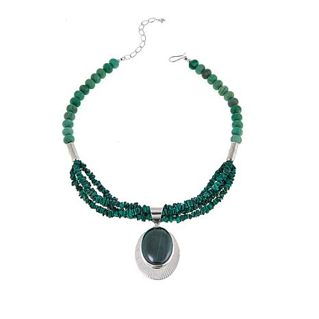 Jay King Malachite and Variscite Sterling Silver Pendant with Necklace