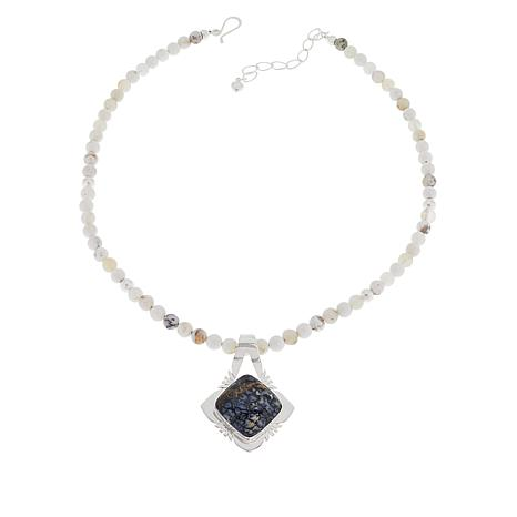 Jay King Moss Opalite Pendant with Beaded Necklace