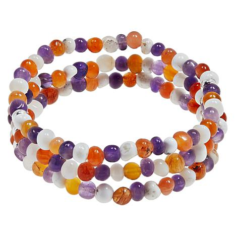 Jay King Multi-Gemstone 3-Strand Stretch Bracelet