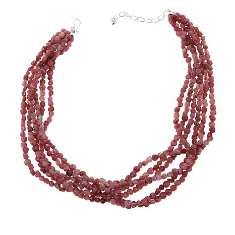 "Jay King Multi-Strand Pink Tourmaline Sterling Silver 18"" Necklace"