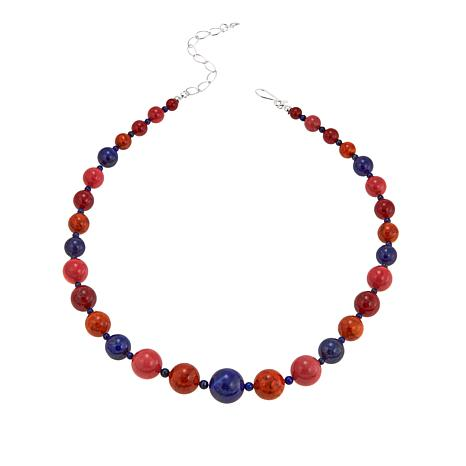 "Jay King Multicolor Coral and Lapis Bead 18"" Sterling Silver Necklace"