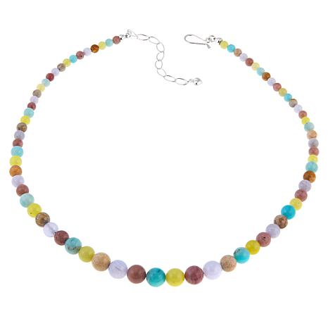 "Jay King Multicolor Multigemstone Bead 20"" Sterling Silver Necklace"