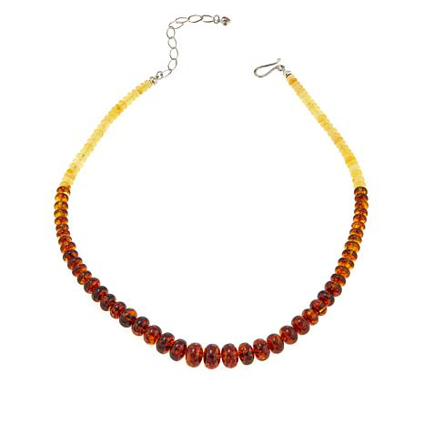 "Jay King Multicolored Ombré Amber Bead 18"" Sterling Silver Necklace"