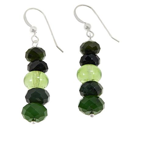 Jay King Nephrite Jade and Green Amber Bead Earrings