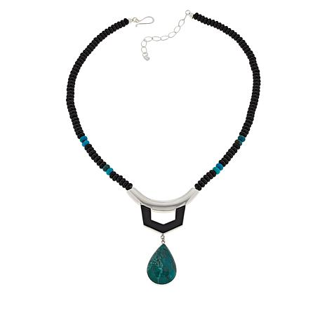 Jay King New Red Skin Turquoise and Gem Pendant Necklace