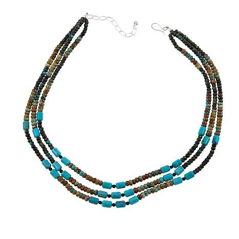 """Jay King Obsidian and Seven Peaks Turquoise Bead 18"""" Necklace"""