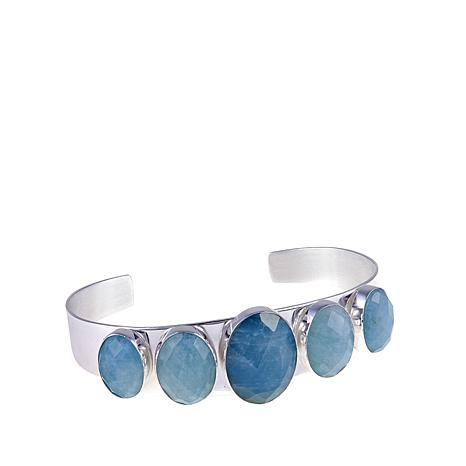Jay King Oval Aquamarine Sterling Silver Cuff Bracelet