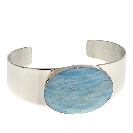 Jay King Oval Blue Aragonite Sterling Silver Cuff Bracelet