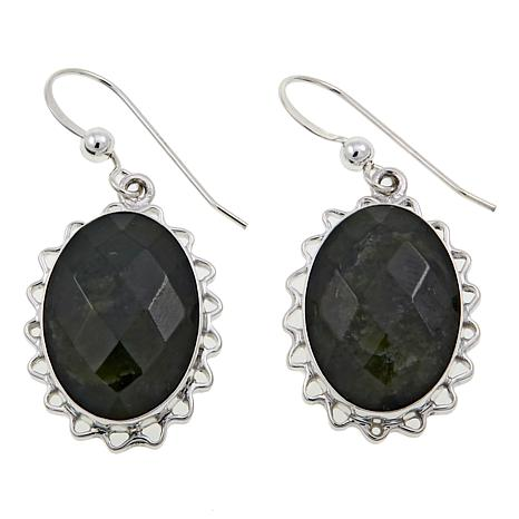 Jay King Oval Nephrite Jade Sterling Silver Drop Earrings