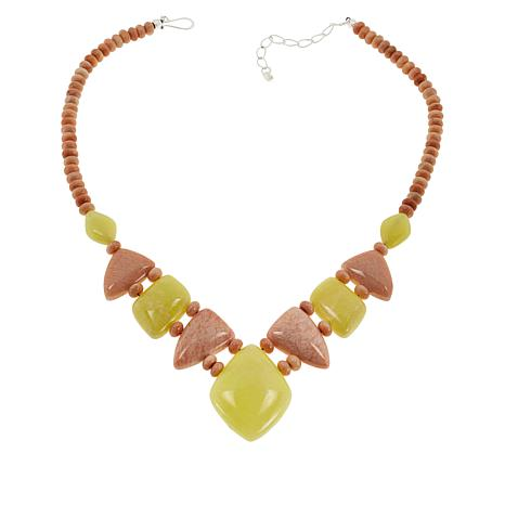 Jay King Peach Stone and Yellow Bauhinia Stone Necklace