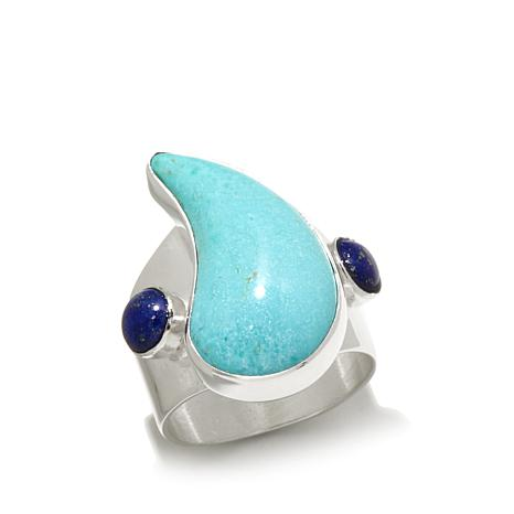 Jay King Pear-Shape Turquoise and Lapis Ring