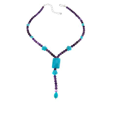 Jay King Peruvian Amazonite and Amethyst Bead Drop Necklace
