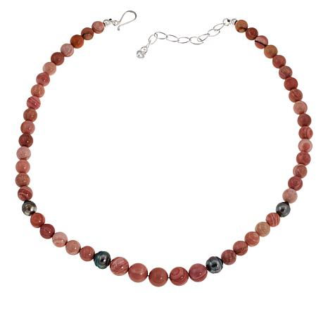 Jay King Pink Opal and Black South Sea Cultured Pearl Beaded Necklace