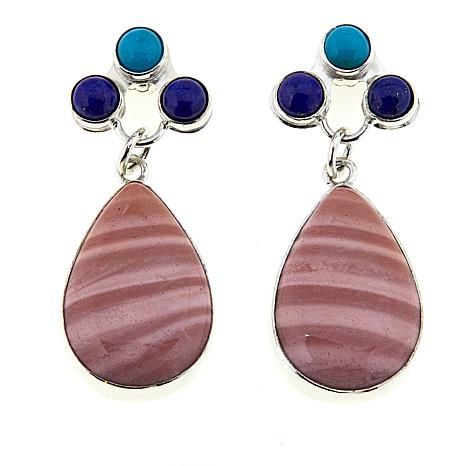 Jay King Pink Opal, Lapis and Turquoise Sterling Silver Earrings