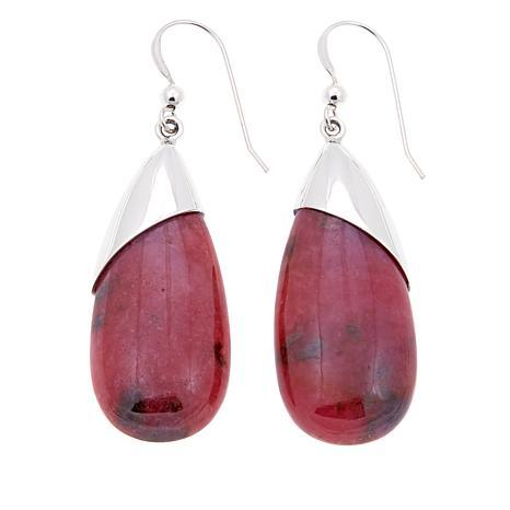 Jay King Pink Rhodonite Sterling Silver Drop Earrings