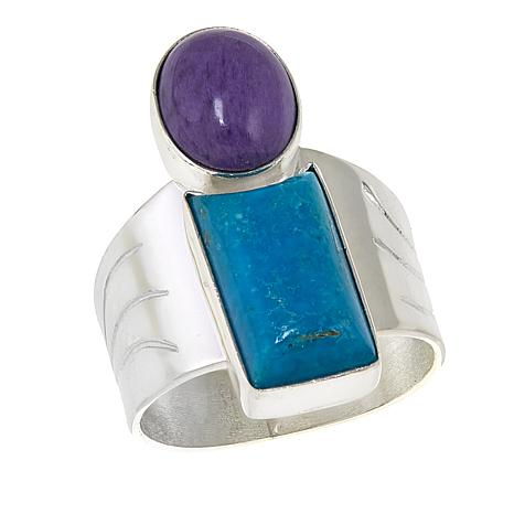 Jay King Purple Charoite and Turquoise Sterling Silver Ring
