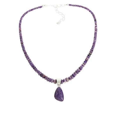 Jay King Purple Charoite Freeform Pendant with Necklace