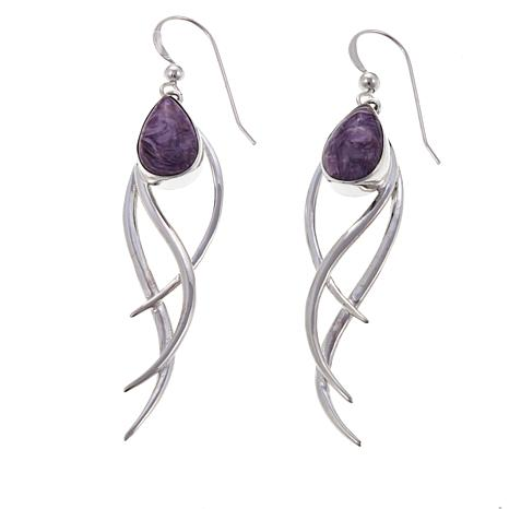 Jay King Purple Charoite Sterling Silver Drop Earrings