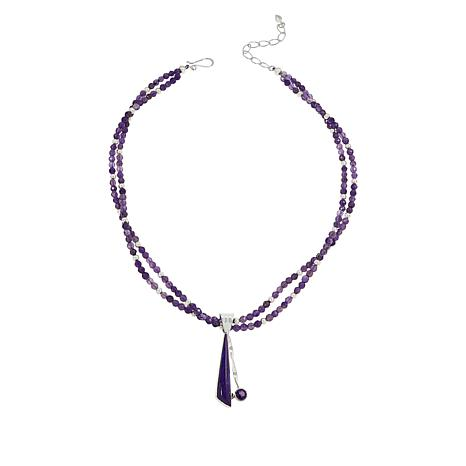 Jay King Purple Turquoise and Amethyst Pendant with Necklace