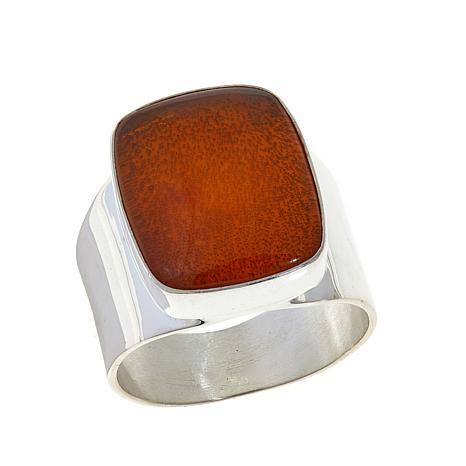Jay King Rectangular Amber Sterling Silver Ring