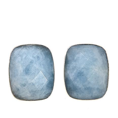 Jay King Rectangular Aquamarine Sterling Silver Earrings