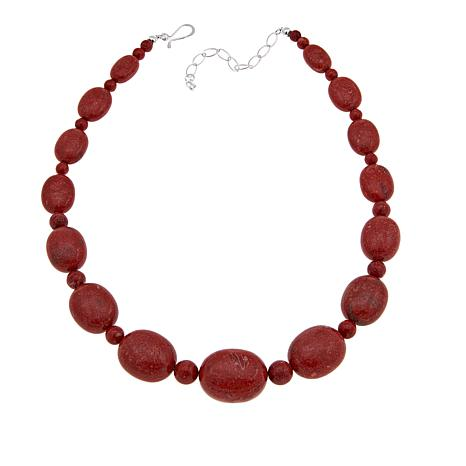 """Jay King Red Coral Bead 18"""" Sterling Silver Necklace"""