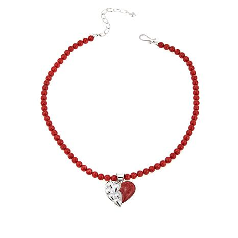 Jay King Red Coral Sterling Silver Heart Pendant with Beaded Necklace