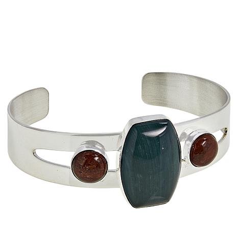 Jay King Red Petrified Wood and Green Swamp Bog Cuff Bracelet