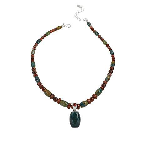 Jay King Red Petrified Wood and Green Swamp Bog Pendant with Necklace