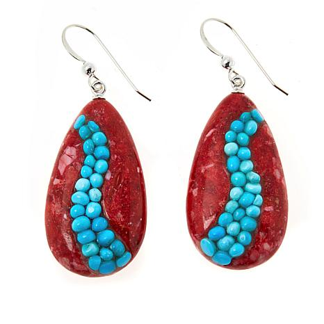 Jay King Red Spiny Oyster Shell and Turquoise Inlay Drop Earrings