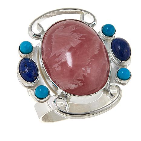 Jay King Rhodochrosite, Lapis and Turquoise Sterling Silver Ring