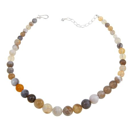 """Jay King Round Agate Graduated Bead Sterling Silver 18"""" Necklace"""