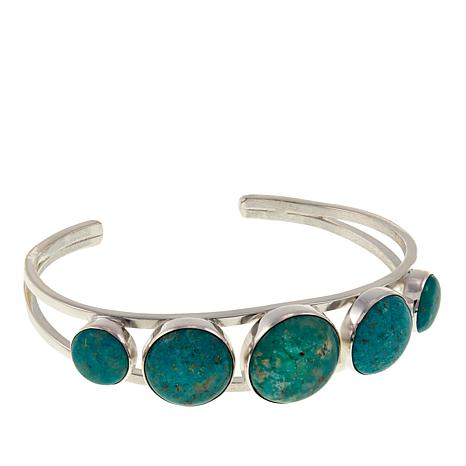 Jay King Round Azure Peaks Turquoise Sterling Silver Cuff Bracelet