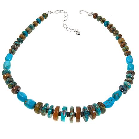 "Jay King Seven Peak and Hubei Turquoise Sterling Silver 18"" Necklace"