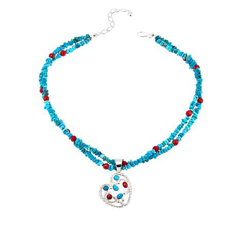 Jay King Seven Peaks Turquoise & Red Sea Bamboo Coral Pendant/Necklace