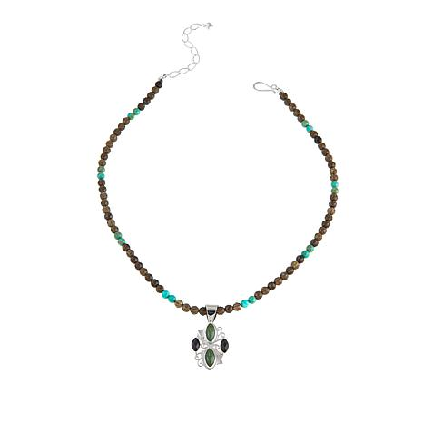 Jay King Smoky Quartz and Alicia Turquoise Pendant with Necklace