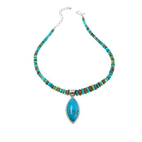 """Jay King Sonoran Blue Turquoise Pendant and 18"""" Rondelle-Bead Necklace"""
