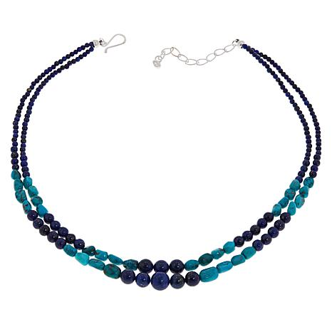 Jay King Sterling Silver 2-Strand Lapis and Turquoise Bead Necklace
