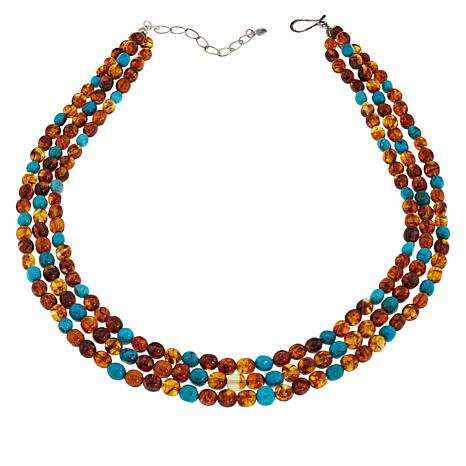 Jay King Sterling Silver 3-Strand Amber and Turquoise Bead Necklace