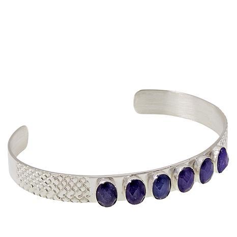 Jay King Sterling Silver 6-Stone Tanzanite Cuff Bracelet
