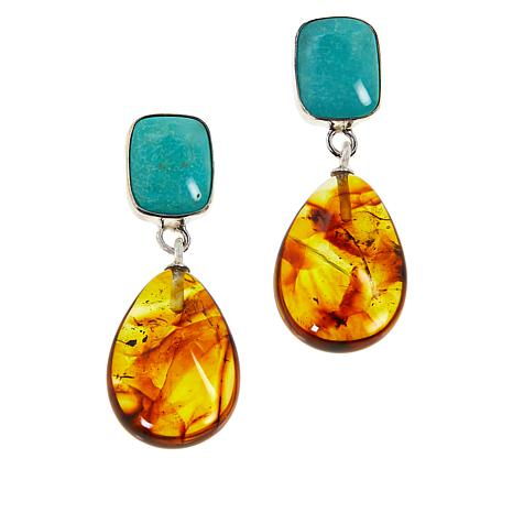 exclusive! Jay King Sterling Silver Amber and Turquoise Earrings