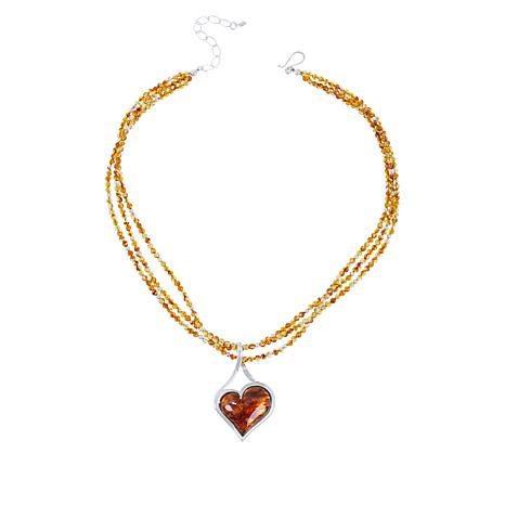 Jay King Sterling Silver Amber Heart Pendant with Beaded Necklace