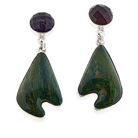Jay King Sterling Silver Amethyst and Green Verdite Drop Earrings